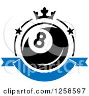 Clipart Of A Billiards Eight Ball With A Crown And Banner Royalty Free Vector Illustration