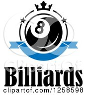 Clipart Of A Billiards Eight Ball With A Crown Banner And Text Royalty Free Vector Illustration