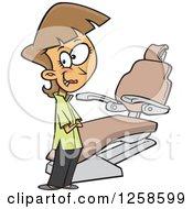 Cartoon Caucasian Female Dentist By A Chair