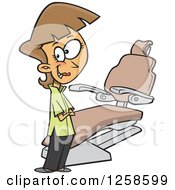 Clipart Of A Cartoon Caucasian Female Dentist By A Chair Royalty Free Vector Illustration by Ron Leishman