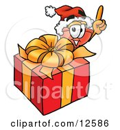 Clipart Picture Of A Sink Plunger Mascot Cartoon Character Standing By A Christmas Present
