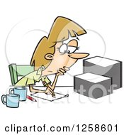 Clipart Of A Cartoon Tired Caucasian Woman Grading Or Marking Papers Royalty Free Vector Illustration