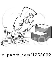 Clipart Of A Black And White Cartoon Tired Woman Grading Or Marking Papers Royalty Free Vector Illustration
