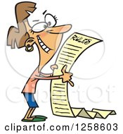Clipart Of A Cartoon Happy Caucasian Woman Reading The Beginning Of A Long Rules List Royalty Free Vector Illustration