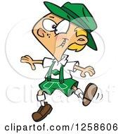 Clipart Of A Cartoon German Boy Dancing In Lederhosen Royalty Free Vector Illustration