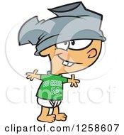 Cartoon Caucasian Boy Wearing Pants On His Head