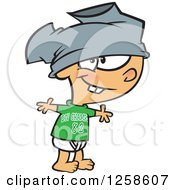Clipart Of A Cartoon Caucasian Boy Wearing Pants On His Head Royalty Free Vector Illustration