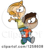 Clipart Of Cartoon Boys Giving Piggy Back Rides Royalty Free Vector Illustration by toonaday