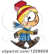 Clipart Of A Cartoon Caucasian Boy Walking In Snowshoes Royalty Free Vector Illustration by Ron Leishman
