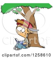 Clipart Of A Cartoon Caucasian Boy Reading A Classic Book Under A Tree Royalty Free Vector Illustration