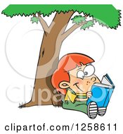 Clipart Of A Cartoon Caucasian Child Reading A Book Under A Tree Royalty Free Vector Illustration
