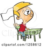 Clipart Of A Cartoon Cauacsian School Boy Waving A White Flag At His Desk Royalty Free Vector Illustration