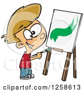 Clipart Of A Cartoon Caucasian Boy Painting A Stroke On A Canvas Royalty Free Vector Illustration