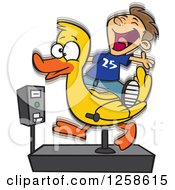 Clipart Of A Cartoon Caucasian Boy Having Fun On A Duck Ride Royalty Free Vector Illustration