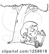 Clipart Of A Black And White Cartoon Child Reading A Book Under A Tree Royalty Free Vector Illustration