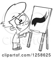 Clipart Of A Black And White Cartoon Boy Painting A Stroke On A Canvas Royalty Free Vector Illustration by toonaday