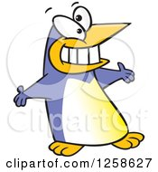 Clipart Of A Periwinkle Cartoon Welcoming Penguin With Open Arms Royalty Free Vector Illustration by toonaday