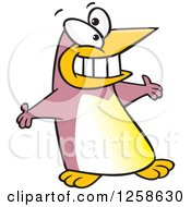 Clipart Of A Puce Cartoon Welcoming Penguin With Open Arms Royalty Free Vector Illustration by toonaday