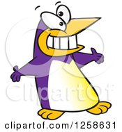 Clipart Of A Purple Cartoon Welcoming Penguin With Open Arms Royalty Free Vector Illustration by toonaday