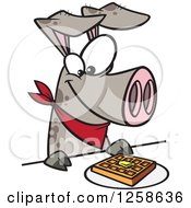 Clipart Of A Cartoon Pig Eating A Waffle Royalty Free Vector Illustration by toonaday