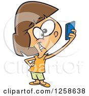 Clipart Of A Cartoon Caucasian Girl Taking A Selfie With Her Cell Phone Royalty Free Vector Illustration