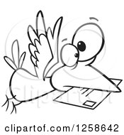 Clipart Of A Black And White Cartoon Bird Delivering Air Mail Royalty Free Vector Illustration