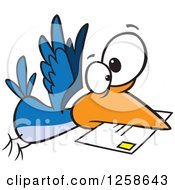 Clipart Of A Cartoon Blue Bird Delivering Air Mail Royalty Free Vector Illustration by Ron Leishman