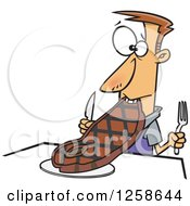Clipart Of A Cartoon Caucasian Man Trying To Eat A Giant Steak Royalty Free Vector Illustration