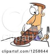 Cartoon Caucasian Man Trying To Eat A Giant Steak