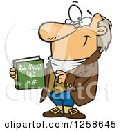 Clipart Of A Cartoon Caucasian Man Holding His Biograpy Book Royalty Free Vector Illustration