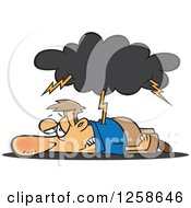 Clipart Of A Cartoon Tired Caucasian Man Being Struck With Lightning Royalty Free Vector Illustration by Ron Leishman