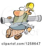 Happy Cartoon Caucasian Man Carrying A Pipe