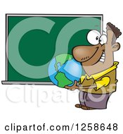 Clipart Of A Cartoon Black Male Teacher Holding A Globe By A Chalkboard Royalty Free Vector Illustration by toonaday