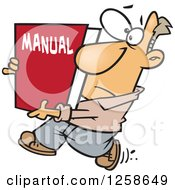 Cartoon Caucasian Man Carrying A Big Manual by toonaday