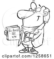 Clipart Of A Black And White Cartoon Man Holding His Biograpy Book Royalty Free Vector Illustration