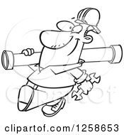 Clipart Of A Black And White Happy Cartoon Man Carrying A Pipe Royalty Free Vector Illustration