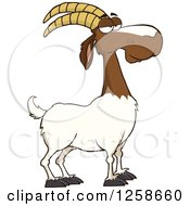 Clipart Of A Red And White Male Boer Goat Royalty Free Vector Illustration by Hit Toon