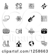 Clipart Of Black And White School Subject Icons Royalty Free Vector Illustration