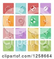 Clipart Of Colorful Square Sports Icons Royalty Free Vector Illustration