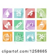 Clipart Of Colorful Square Christmas Item Icons Royalty Free Vector Illustration by AtStockIllustration