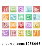 Clipart Of Colorful Square Travel Icons Royalty Free Vector Illustration by AtStockIllustration