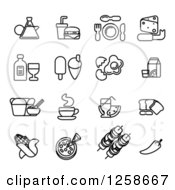 Clipart Of Black And White Coffee And Food Icons Royalty Free Vector Illustration by AtStockIllustration