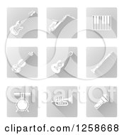 Clipart Of Square White And Gray Music Instrument Icons Royalty Free Vector Illustration by AtStockIllustration