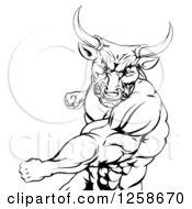 Black And White Mad Bull Or Minotaur Mascot Punching