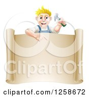 Happy Blond White Worker Man Holding A Hammer And Pointing Down At A Scroll Sign
