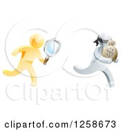 Clipart Of A 3d Gold Detective With A Magnifying Glass Chasing A Silver Robber Royalty Free Vector Illustration by AtStockIllustration