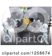 Clipart Of A 3d Silver Men Adjusting Gear Cogs On A Machine Royalty Free Vector Illustration