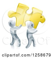 Clipart Of 3d Silver Men Carrying A Golden Puzzle Piece Royalty Free Vector Illustration