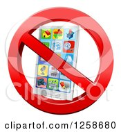 Clipart Of A 3d Silver Smart Phone In A Restricted Symbol Royalty Free Vector Illustration