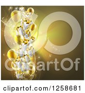 Clipart Of A Background Of 3d Gold Party Balloons And Gifts Royalty Free Vector Illustration by AtStockIllustration